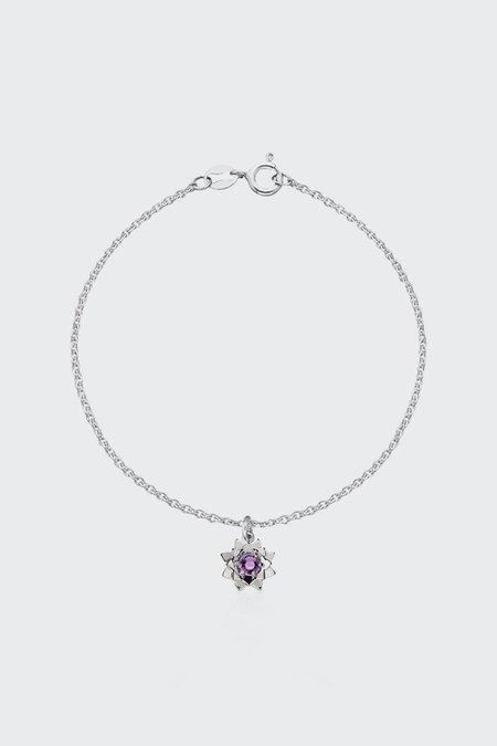 Meadowlark Protea Charm Bracelet with Stone - Silver/Amethyst