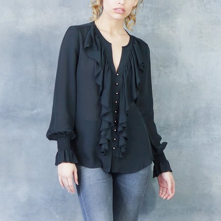 GOSILK Get Ruffled Up Blouse in Washed Black