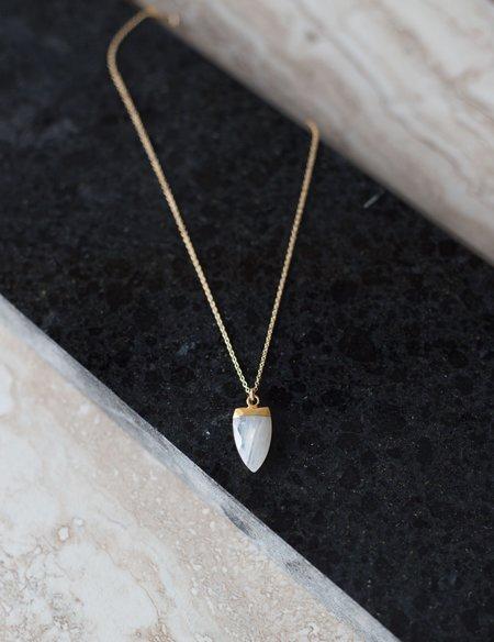 Sarah Mulder Spark Necklace Moonstone (Long) - Silver/Gold