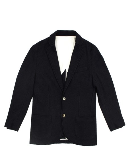 De Bonne Facture Navy Boiled Wool & Cotton Jersey Sports Jacket