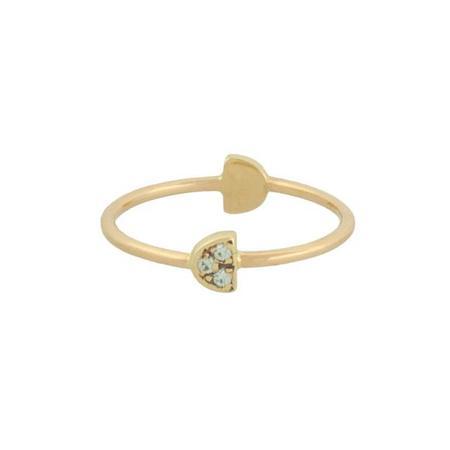 Mociun Variscite & Diamond Half Moon Double Ring