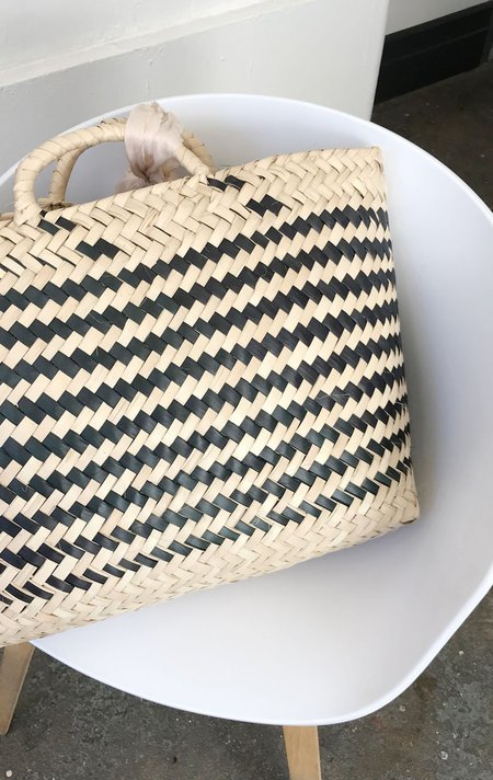 Palma Straw Beach Tote in Black and Natural