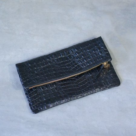Clare V. Black Crocodile Foldover Clutch
