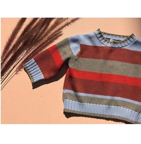 KORDAL Short Sleeve Sweater Multi Stripe