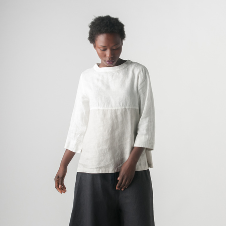 Fog Linen Work Astrid Bicolor Top In White/Alabaster