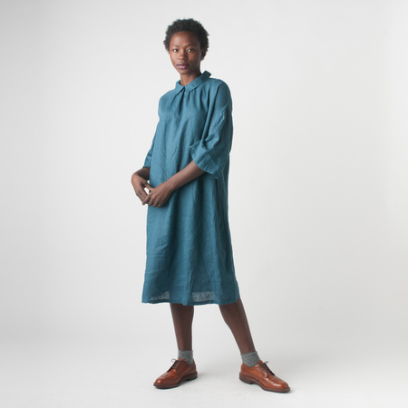 Fog Linen Work Nana Dress in Peacock