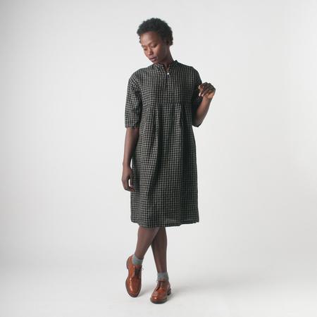 Fog Linen Work Viola Dress in Black/Beige Plaid
