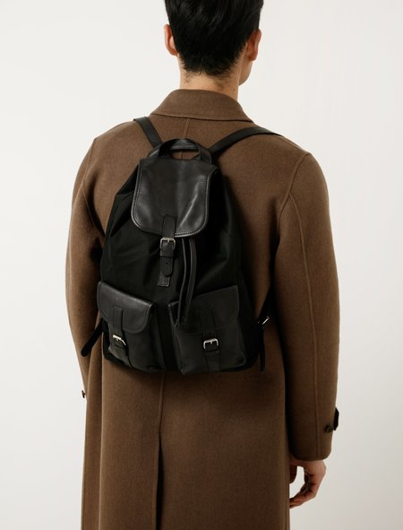 Isaac Reina 761 Small Backpack - Cotton/Leather Black