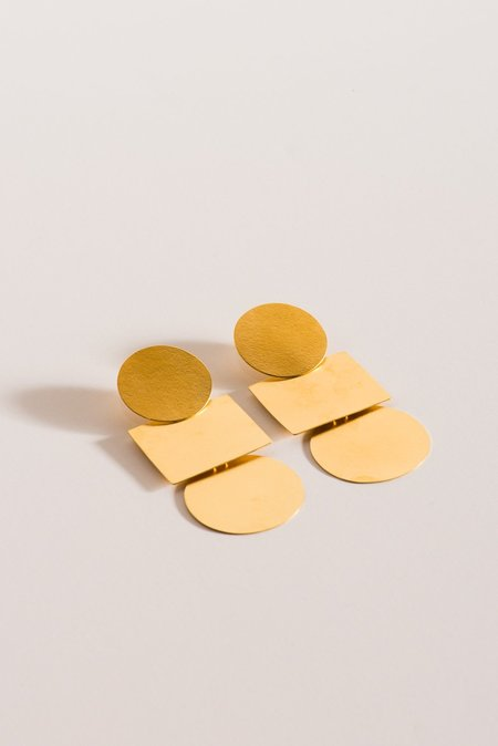 Annie Costello Brown Popova Earrings in Gold