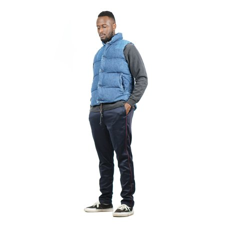 Remi Relief Denim Switching Down Vest - Used Blue