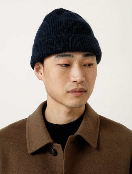 Our Legacy Knitted Hat - Navy Mohair