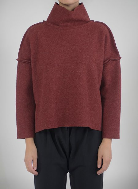 Priory Shop Que Sweater (Raw Seams) - Speckled Maroon Boiled Wool