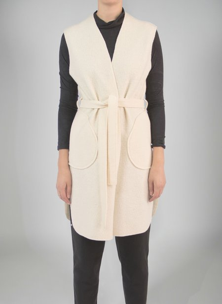 Priory Shop Wrap Vest - Cream Boiled Wool