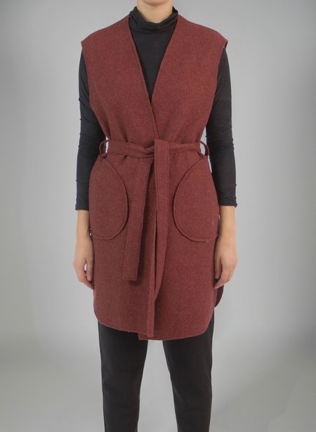 Priory Shop Wrap Vest - Speckled Maroon Boiled Wool