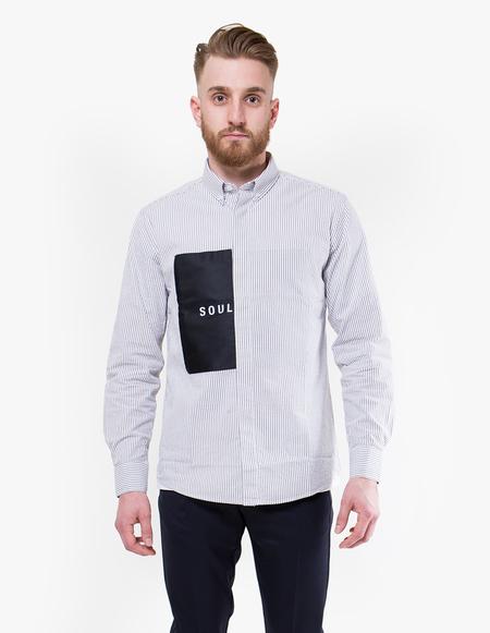 Soulland Neatherall Shirt - White/Black Stripes
