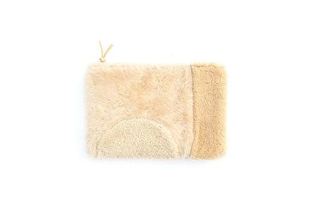 Primecut Ivory Patchwork Sheepskin Clutch