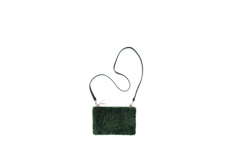 Primecut Green Shearling Pouch Purse
