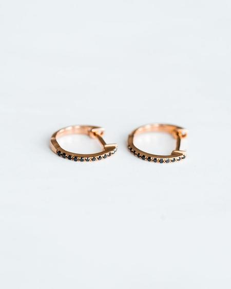Seldom Seen Pave Huggies with Black Diamonds - Rose Gold
