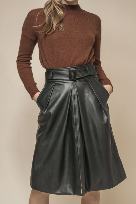 OPUSION High Waisted Faux Leather Skirt w/ Belt