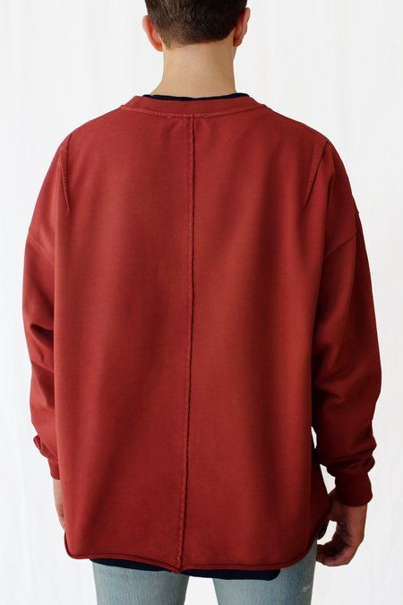 Commun des Mortels Oversized Raw-edge Sweatshirt - Cinnabar Red