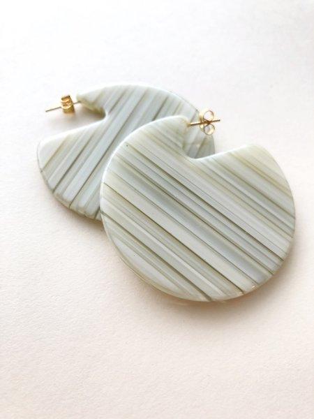 Machete Earrings in Vert Stripe