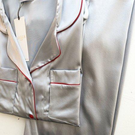 Salua Classic Notch Collar Silk PJ Red Trim