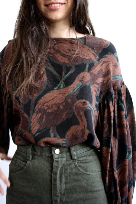 WHiT Remi Blouse - Bird Print Silk