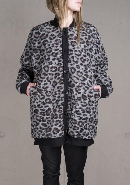 Berenik Pilot Jacket Wool Coating - Animal Print