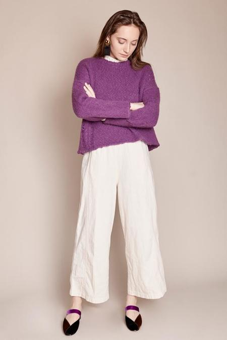 Raquel Allegra Boxy Crew Sweater in Iris