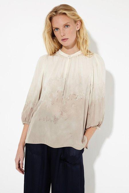 Raquel Allegra Stone Silk Tie Dye Peasant Blouse
