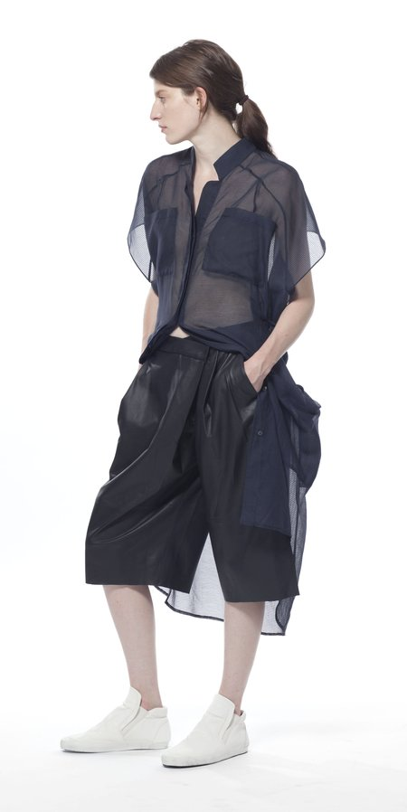 SCHAI Geode Leather Long Shorts