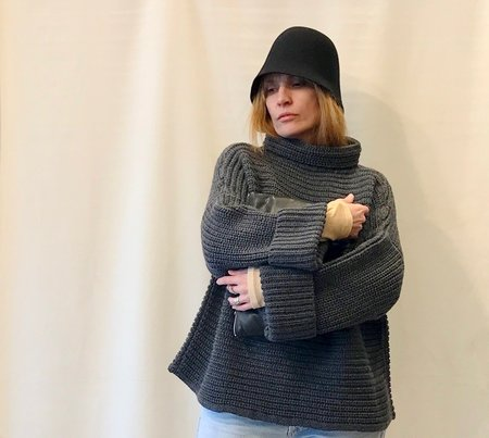 Micaela Greg Parallel Pullover in Melange Grey and Caramel