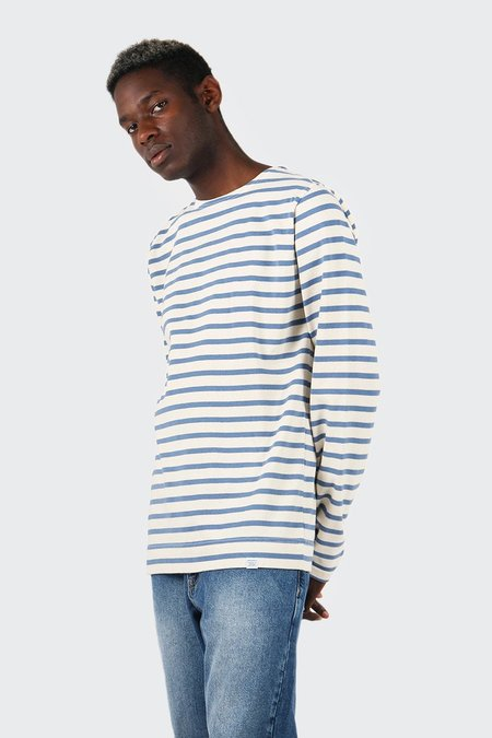 Norse Projects Godtfed Classic Compact Long Sleeve T-Shirt - Ecru/Marginal Blue