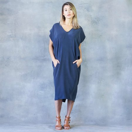 The Podolls Silk Kaftan Pocket Dress in Navy