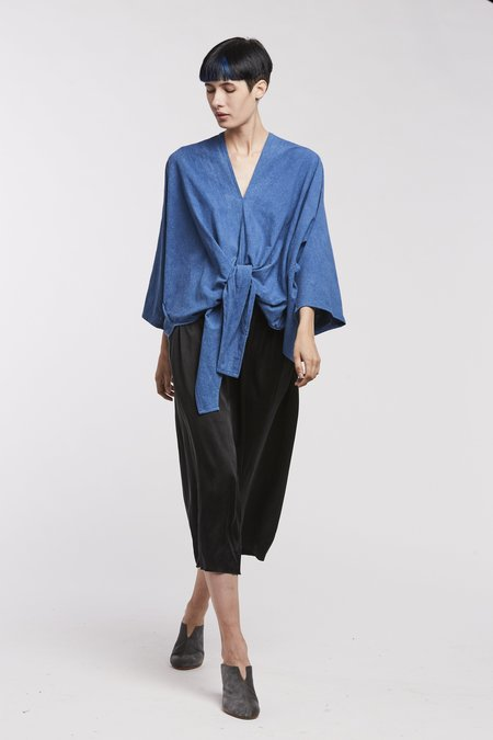 Miranda Bennett Kahlo Top, Silk Noil in Dark Indigo