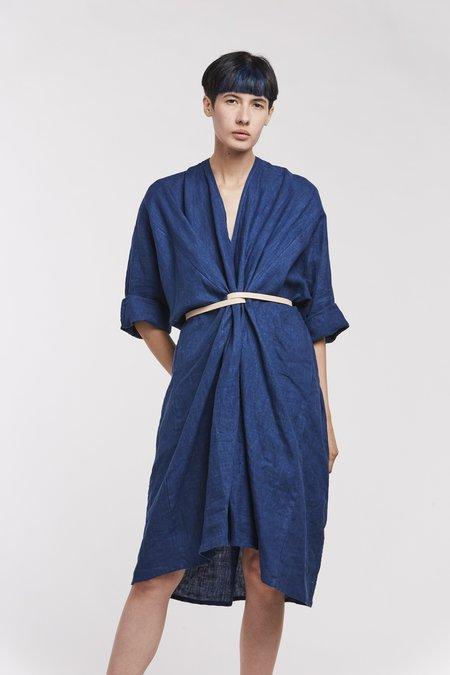 Miranda Bennett O'Keefe Dress, Linen in Dark Indigo
