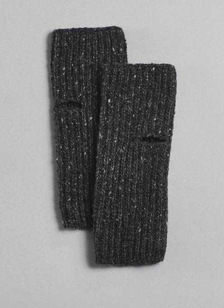 Unisex Grei Donegal Mohair/Angora/Merino Handwarmers In Charcoal