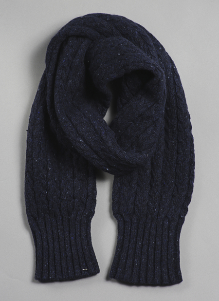 Unisex Grei Donegal Mohair/Angora/Merino Tube Cable Scarf In Midnight Blue
