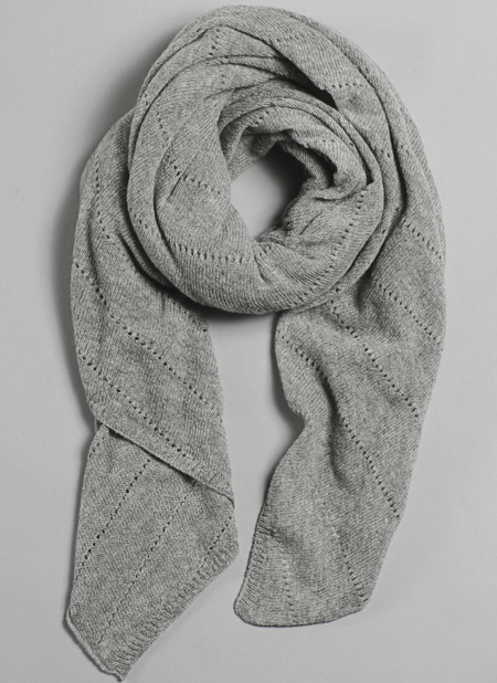 Unisex Grei Cashmere Oversized V-Knit Repeat Scarf In Fog