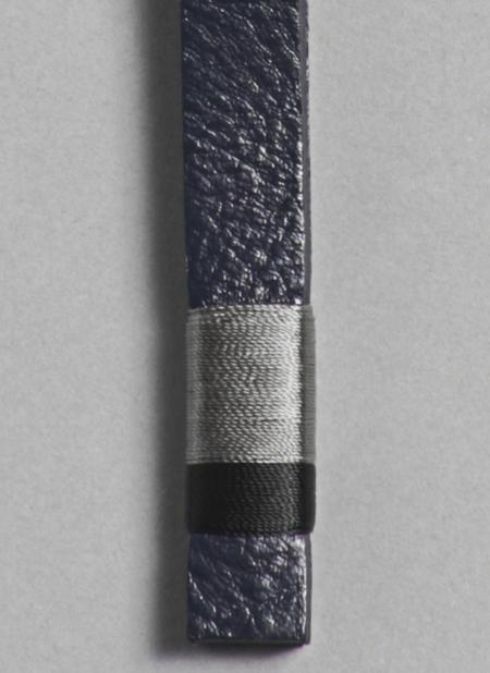 Unisex Grei Leather Key Fob Multicolor - Midnight Blue