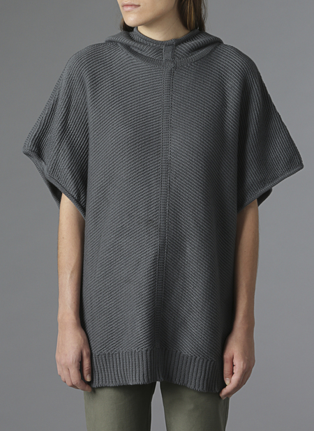 Grei Hooded Diagonal Stitch Sweater Poncho In Charcoal