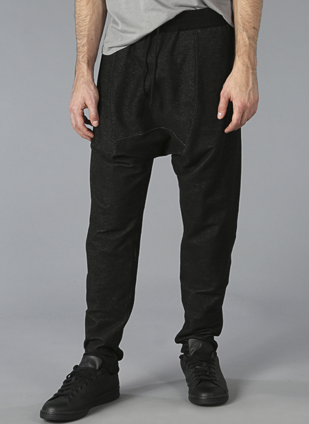 Grei Knit Denim Drop Rise Sweatpants In Black