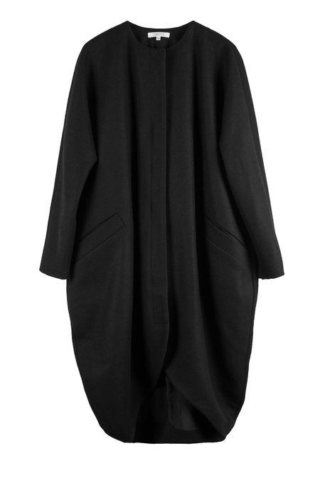 Vincetta Drape Cocoon Coat - Black