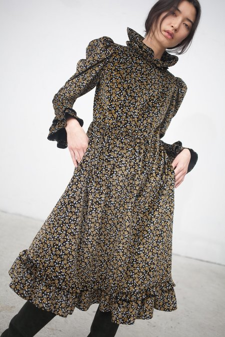 BATSHEVA Velvet Dress in Black Floral
