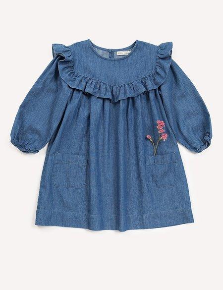 Kids Petits Vilains Clothier Anouk Ruffle Dress - Indigo
