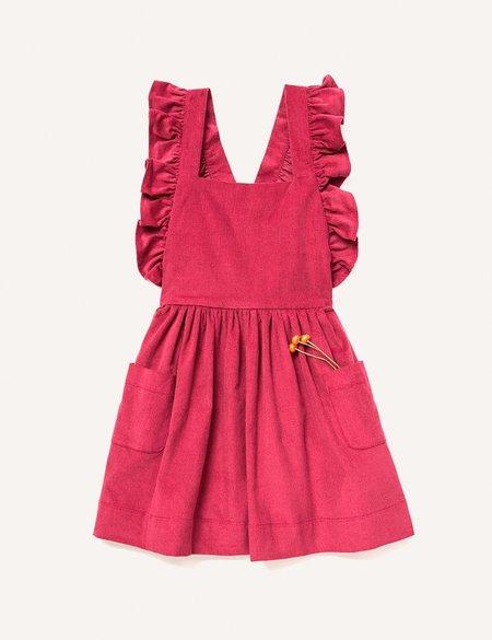 Kids Petits Vilains Clothier Inès Pinafore Dress - Cranberry