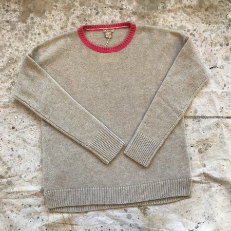 New Scotland Crew Neck Pullover - oatmeal and pink