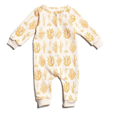 Kid's Winter Water Factory French Terry Jumpsuit - Cactus Mustard