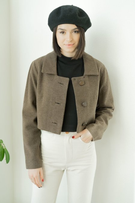 Backtalk PDX VINTAGE WOOL CROPPED JACKET WITH WOODEN BUTTONS SMALL