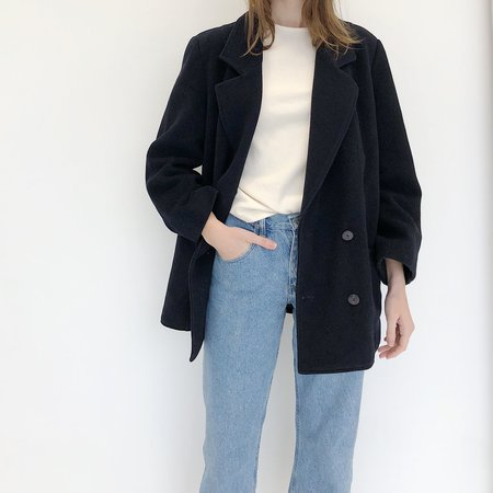 Johan Vintage Navy Double Breasted Wool Coat